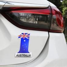 Universele auto Australië vlag nummer 1 vorm metalen decoratieve sticker