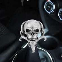 Universele voertuig auto creatieve schedel dubbele koppen vormige shifter cover handmatige automatische versnelling Pookknop (zilver)