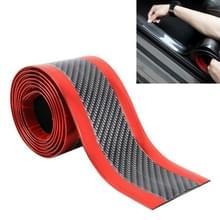 Universele galvaniseren Carbon Fiber autodeur drempel decoratie strip decoratieve sticker  grootte: 3CM x 2M (rood)