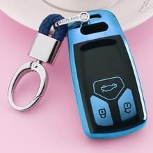 TPU eendelige galvaniseren volledige dekking autosleutel geval met sleutel ring voor Audi A4L/A6L/Q5 (nieuw) (blauw)