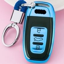 TPU eendelige galvaniseren volledige dekking autosleutel geval met sleutel ring voor Audi A4L/A6L/Q5 (oud) (blauw)