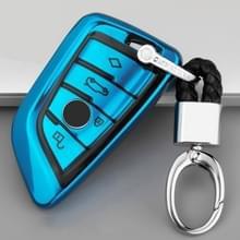 TPU eendelige galvaniseren volledige dekking autosleutel geval met sleutel ring voor BMW X5/X6 (blauw)