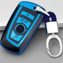 TPU eendelige galvaniseren volledige dekking autosleutel geval met sleutel ring voor BMW 3-serie/5-serie (blauw)