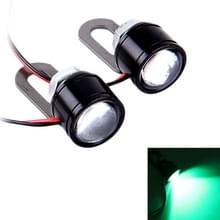 2 PC's 12V 3W groen licht Eagle ogen LED Strobe Light voor motorfiets  draad lengte: 90cm