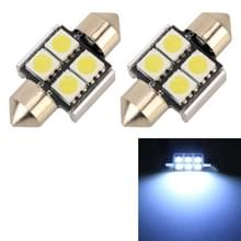 2 stuks 31mm DC12V/2W/7000K/80LM 4LEDs SMD-5050 auto Lees lamp (wit licht)
