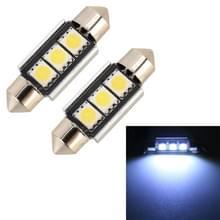 2 stuks 36mm DC12V/1.7 W/7000K/70LM 3LEDs SMD-5050 auto Lees lamp (wit licht)