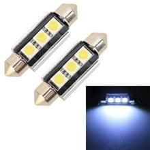2 stuks 39mm DC12V/1.7 W/7000K/70LM 3LEDs SMD-5050 auto Lees lamp (wit licht)