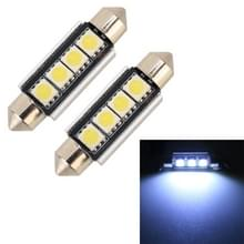 2 stuks 41mm DC12V/1.7 W/7000K/70LM 4LEDs SMD-5050 auto Lees lamp (wit licht)
