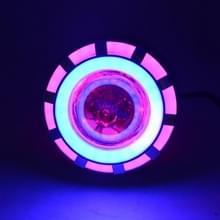 Motorfiets DC 12V-85V 30W 1200LM LED koplamp lamp dubbele diafragma hoek ogen + Devil Eye (roze licht)
