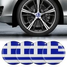 4 STKS auto-styling Griekse vlag patroon metalen wiel hub decoratieve sticker  diameter: 5.8 cm
