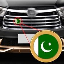 Auto-styling Pakistan vlag patroon metalen front grille grid insect netto decoratieve sticker willekeurige sticker  diameter: 5.4 cm (goud)