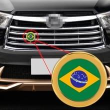 Auto-styling Braziliaanse vlag patroon metalen front grille grid insect netto decoratieve sticker willekeurige sticker  diameter: 5.4 cm (goud)