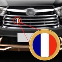 Auto-styling Frankrijk vlag patroon metalen front grille grid insect netto decoratieve sticker willekeurige sticker  diameter: 5.4 cm (goud)
