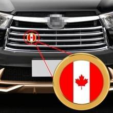 Auto-styling Canadese vlag patroon metalen front grille grid insect netto decoratieve sticker willekeurige sticker  diameter: 5.4 cm (goud)