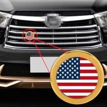 Auto-styling USA vlag patroon metalen front grille grid insect netto decoratieve sticker willekeurige sticker  diameter: 5.4 cm (goud)