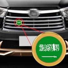 Auto-styling Saudi-Arabië vlag patroon metalen front grille grid insect netto decoratieve sticker willekeurige sticker  diameter: 5.4 cm (goud)