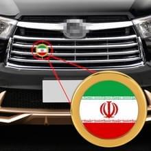 Auto-styling Iraanse vlag patroon metalen front grille grid insect netto decoratieve sticker willekeurige sticker  diameter: 5.4 cm (goud)
