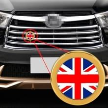 Auto-styling UK vlag patroon metalen front grille grid insect netto decoratieve sticker willekeurige sticker  diameter: 5.4 cm (goud)