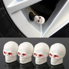 4 STKS witte schedel vorm Gasdop mondstuk cover Tire Cap auto Tire Valve Caps