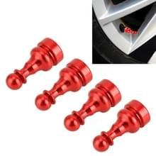 4-delige schaak vorm Gasdop mondstuk cover Tire Cap auto Tire Valve Caps (rood)