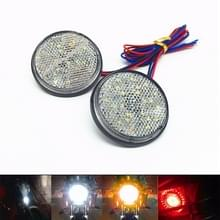 2 stk motorfiets Trailer Truck DC 12-15V vast 24-LED-Indicator Lampreflector ronde markering staart licht  lichte kleur: wit (gestage + Flash Lighting)(White)