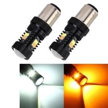 2 stks auto auto DC 12V 5W 350LM 1157/BAY15D/P21/5W 3030 16-LED lampen turn lamp back-up licht  wit + geel