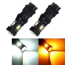 2 stks auto auto T25/3157 DC 12V 5W 350LM 16 SMD-3030 LED-lampen turn lamp back-up licht  wit + geel