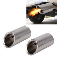 2 stks auto styling RVS Uitlaat staart uitlaat Tip pipe voor VW Volkswagen 1.4 T geveegd volume (zilver)