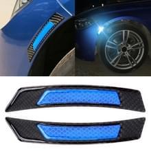 2 stuks koolstofvezel reflecterende auto Fender flare Wheel brow waarschuwing strip stickers (blauw)