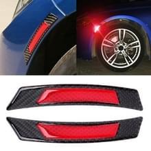 2 stuks koolstofvezel reflecterende auto Fender flare Wheel brow waarschuwing strip stickers (rood)