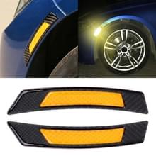 2 stuks koolstofvezel reflecterende auto Fender flare Wheel brow waarschuwing strip stickers (geel)