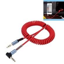 3.5 mm 4-polig Male naar Male Plug Audio AUX uittrekbare Coiled Kabel  Lengte: 1.5m (rood)
