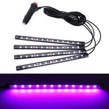 4 in 1 universele auto LED sfeer lichten kleurrijke verlichting decoratieve lamp  met 48LEDs SMD-5050 lampen  DC 12V 3.7 W (roze licht)