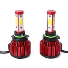 2 stks X6 9006 36W 3600LM 6500K 4 COB LED auto koplamp lampen  DC 9-32V wit licht (rood)