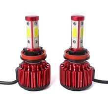 2 stuks X6 H8/H11 36W 3600LM 6500K 4 COB LED auto koplamp lampen DC 9-32V wit licht (rood)