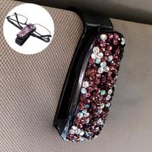 Auto gemengde kleur Diamond gemonteerde glazen Bill clip houder (paars)
