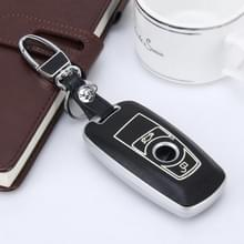 Auto Auto PU Leder Luminous Effect Key Ring Protection Cover voor BMW Series1/Series3(Zilver)