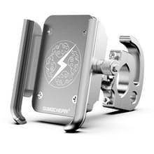 Motorfiets aluminium legering mobiele telefoon beugel met haak  geschikt voor 4-6 5 inch telefoons (Wit)