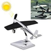 Auto interieur decoratie accessoires vliegtuig model ornamenten propeller roterende zonne-energie ornament (zilver)