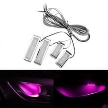 4-delige universele auto LED innerlijke handvat licht sfeerverlichting decoratieve lamp DC12V/0.5 W kabel lengte: 75cm (roze licht)