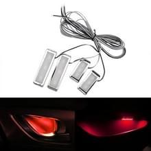 4-delige universele auto LED innerlijke handvat licht sfeerverlichting decoratieve lamp DC12V/0.5 W kabel lengte: 75cm (rood licht)