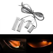 4-delige universele auto LED innerlijke handvat licht sfeerverlichting decoratieve lamp DC12V/0.5 W kabel lengte: 75cm (geel licht)