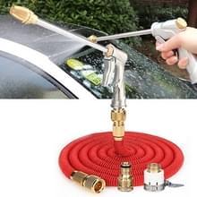 100ft 10m Telescopische Soft Tube Household Car High PressureWash Water Gun Spayer Nozzle Garden Irrigation Set (Rood)