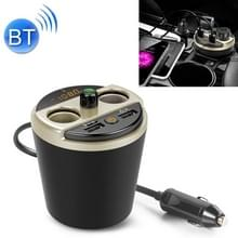 401E Auto MP3 Bluetooth Player FM Zender met 2 Socket Cigarette Lighter Splitter 2 x USB Charger (Goud)