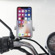 Motorfiets Aluminium Legering Quick Release Mobiele Telefoon Houder Beugel  Achteruitkijkspiegel Versie(Zilver)