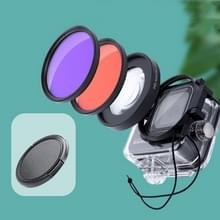 RUIGPRO voor GoPro HERO8 Professional 58mm 16X Macro Lens + Rood/Paars Duiklens Duikfilterkits met filteradapterring & lensdop
