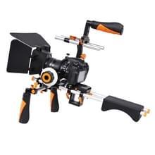 YELANGU D230-3 C-Vormig Camera Schouderstatief met Matte Box & Volg Focus Set voor DSLR & DV Digitale Video of andere camera met 1/4 inch schroefverbinding (Oranje)
