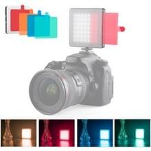 YELANGU Portable 49 LED's Telefoon fotografie vul licht met 6 kleurenfilters (zwart)