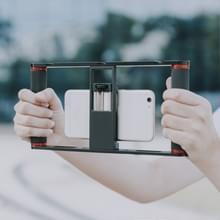 YELANGU PC05 YLG0909B Vlogging Live Broadcast Smartphone Metal Cage Video Rig Filmmaking Recording Handle Stabilizer Bracket voor iPhone  Galaxy  Huawei  Xiaomi  HTC  LG  Google en andere smartphones (Zwart)