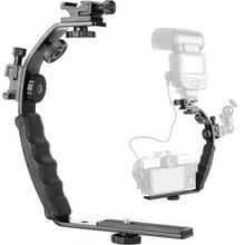 Aluminium L-vormige Flash Bracket Camera houder (zwart)